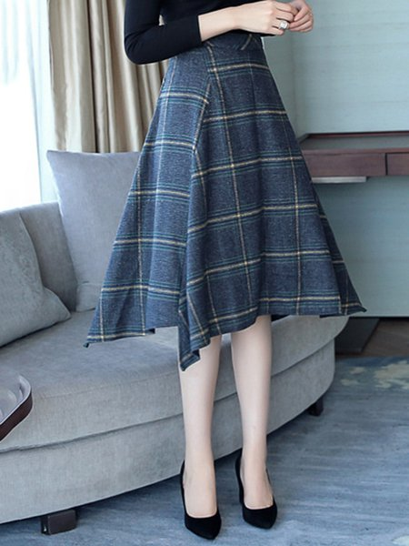 Blue Casual Checkered/Plaid Tweed Skirt