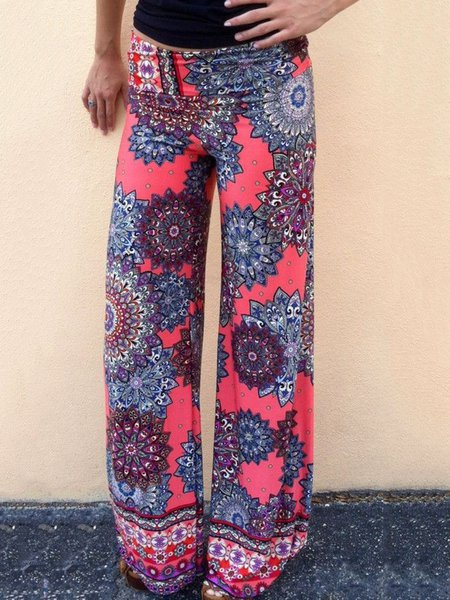 Multicolor Solid Floral-print Outdoor Pants