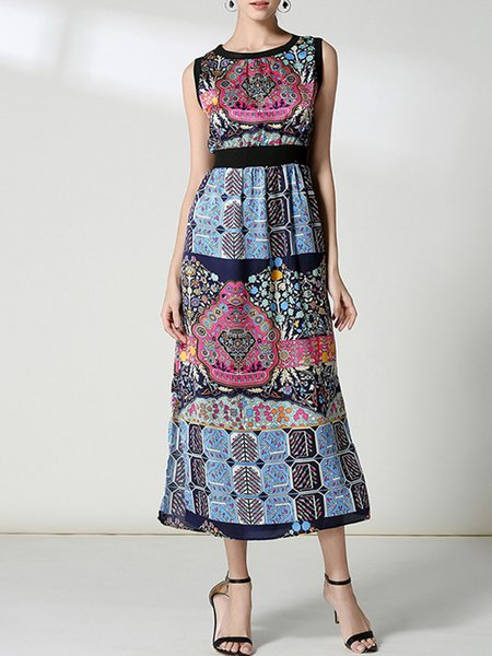 Royal Blue Tribal Casual Dress