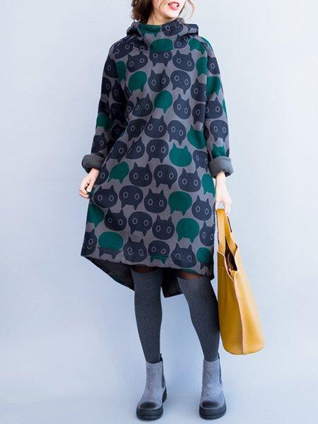 Elegant Long Sleeve Printed Animal Cotton Dress