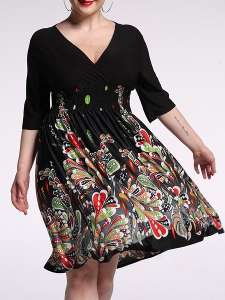 Black Half Sleeve Solid V Neck Painted Dress