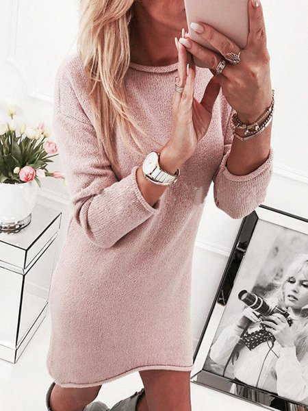 Women Elegant Dress Crew Neck Daily Long Sleeve Asymmetric Dress