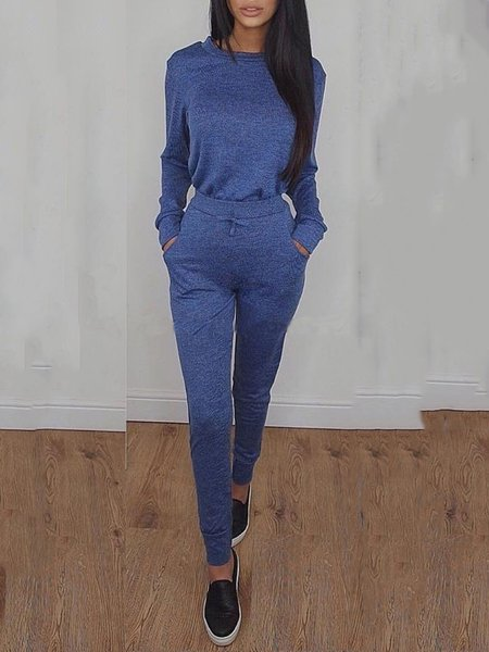 Gray Crew Neck Solid Long Sleeve Women's Co-ord