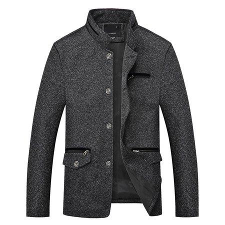 Black-grey Long Sleeve Tweed Jacket