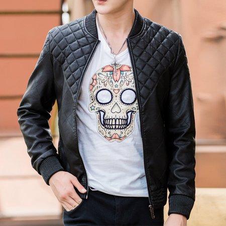 Black Zipper Stand Collar Polyester Long Sleeve Jacket