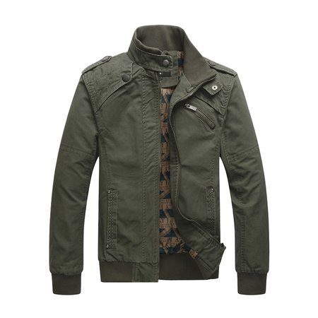 Khaki Solid Stand Collar Casual Jacket