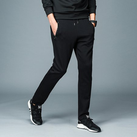 Black Knitted Solid Sports Pants