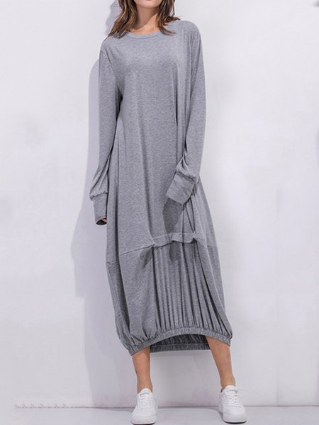 Women Casual Dress Crew Neck Cocoon Daily Long Sleeve Cotton Dress