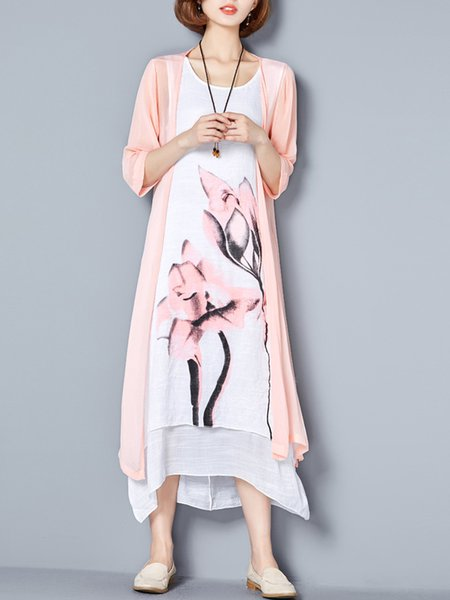 Crew Neck Painted 3/4 Sleeve Casual Dress