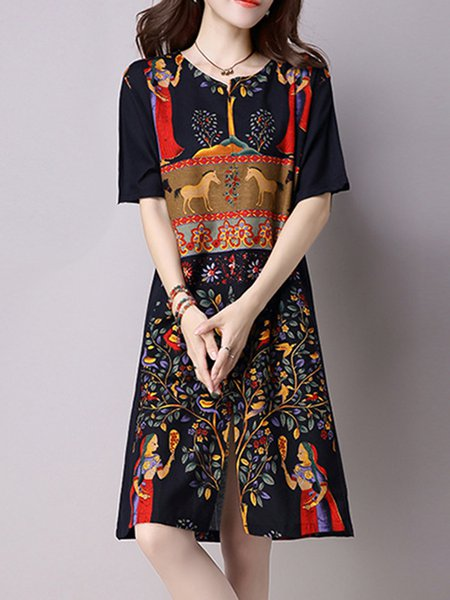Women Print Dress V neck Shift Daily Half Sleeve Embossed Dress