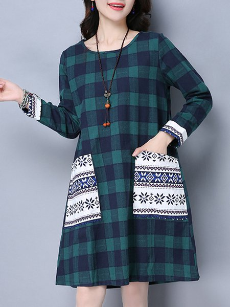 Green Crew Neck Casual H-line Checkered/Plaid Dress