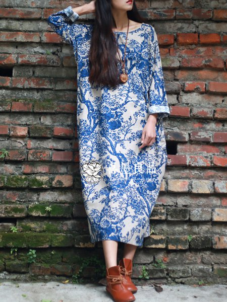 Polyester Vintage 3/4 Sleeve Cocoon Crew Neck Dress