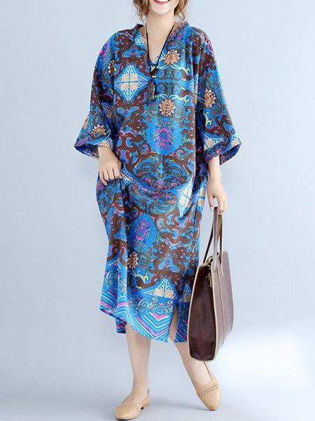 Vintage 3/4 Sleeve Cotton Linen Tribal Shift V Neck Dress