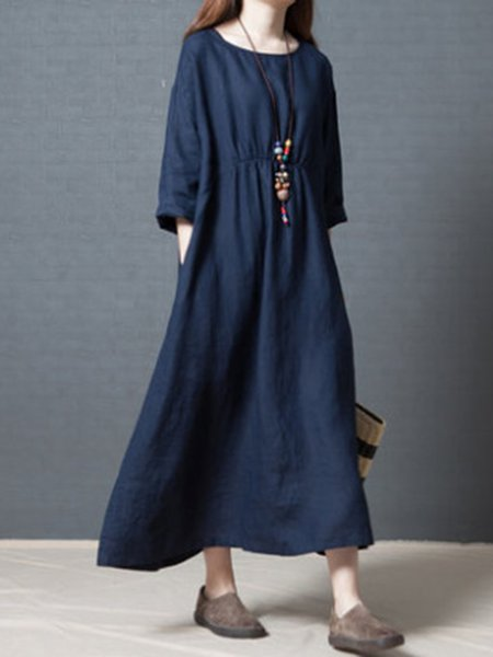 Retro Solid Pleated Linen Casual Long Sleeves Dress
