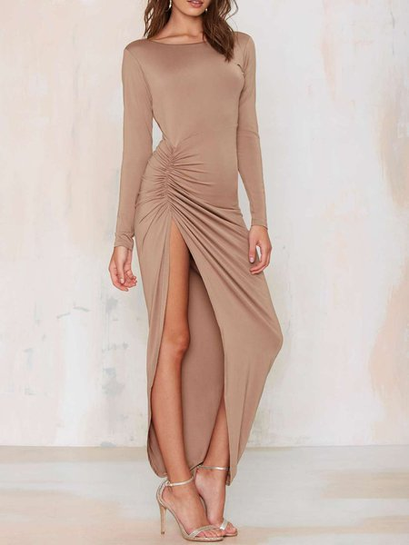 Asymmetrical Slit Pleated Sexy Cutout Back Maternity Dress