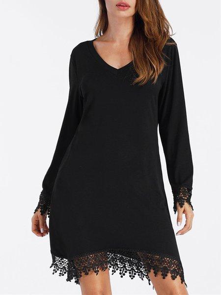 Black Lace Paneled Asymmetric Sexy V Neck Dress