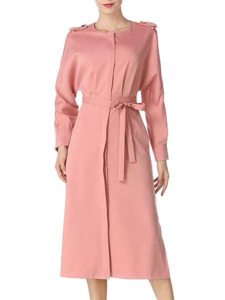 Chic Cotton Silk Elegant Covered Button Slit Long Sleeve Dress with Belts