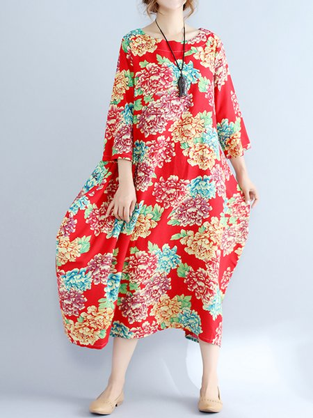 Red Vintage Large Flower Printed Loose  Dress