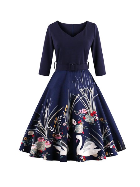 V Neck Floral Printed Long Sleeve Sweet Swing Dress with Belt