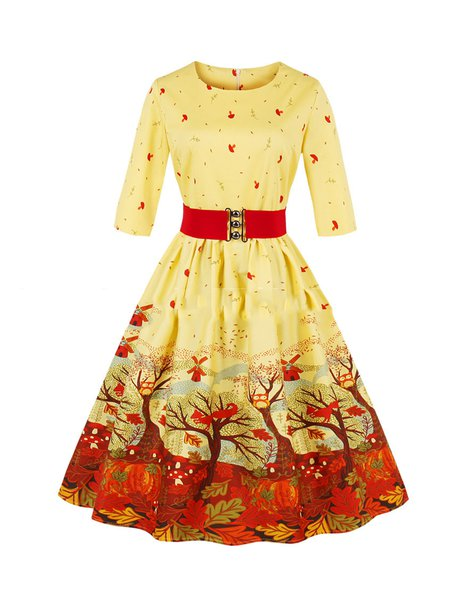 Sweet Beige Floral Printed Long Sleeve A-line Dress with Belt