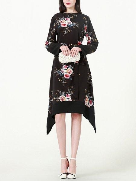 Floral Printed Asymmetric Retro Dress with Belt