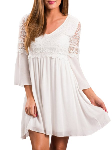 Bell Sleeves Casual Lace Paneled V Neck A-line Dress