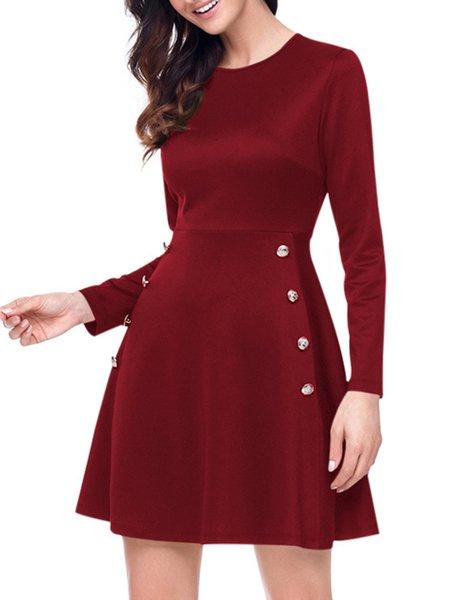 Buttoned Decoration Long Sleeve Cotton-blend A-line Dress