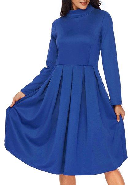 Pleated Long Sleeve Casual Turtleneck A-line Dress