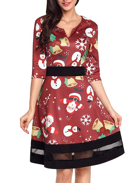Santa Claus Printed Voile Paneled Cute A-line Red Dress