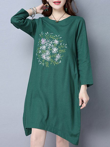 Embroidered Long Sleeve Shift Cotton Dress