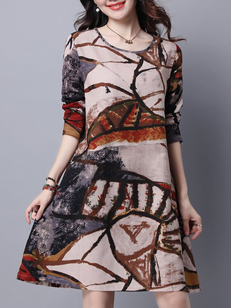Women Print Dress Crew Neck Shift Daily Long Sleeve Printed/Dyed Dress