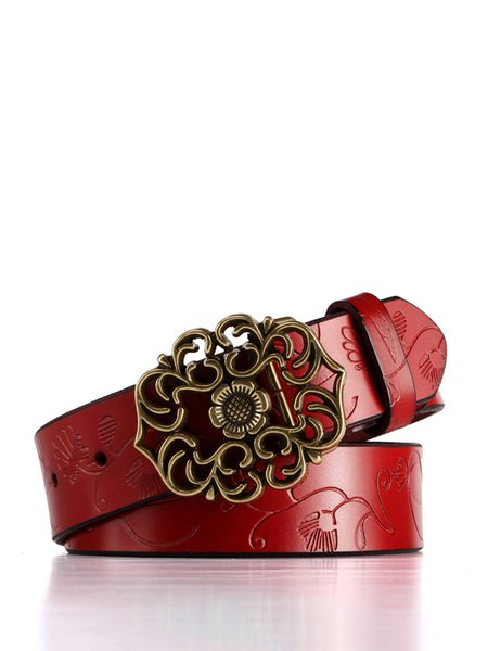 Ladies Cow Genuine Leather Second Layer Vintage Flower Embossed Strap Buckle Belts