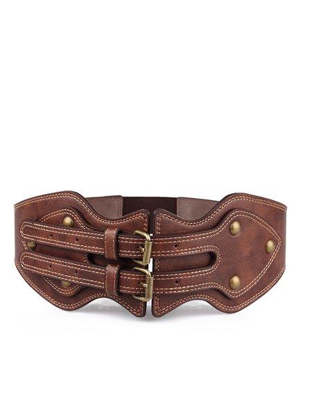 PU Leather Needle Buckle Coffee Elastic Wide Belt Waistband Strap