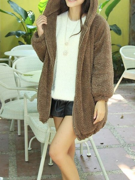 Cute Shift Hoodie Long Sleeve Coat
