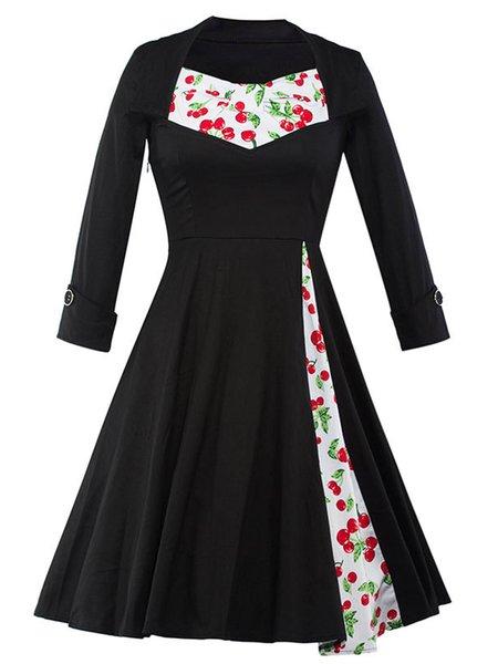 Elegant Cherry Printed Patchwork Black Long Sleeve Swing Dress