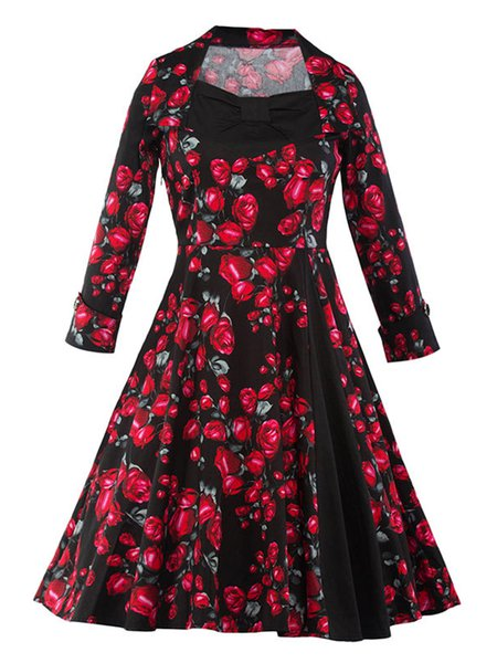 Rose Floral Printed Patchwork Long Sleeve Swing Dress
