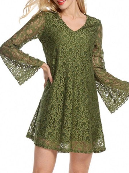 Elegant Sexy Lace A-line Bell Sleeve V Neck Dress