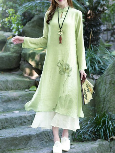 Asymmetric Stand Collar Long Sleeve H-line Vintage Literature Dress