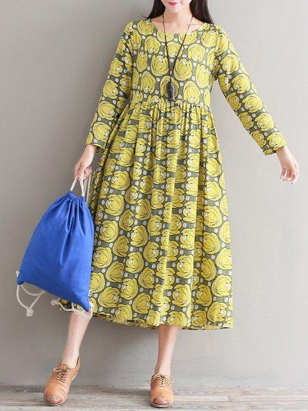 Vintage Floral Printed Swing Long Sleeve Dress