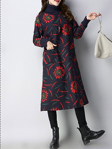 Fleece-lined Double Pockets Floral Printed Thicken Turtleneck Dress