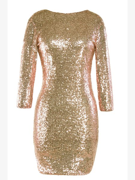 Sequins Embroidery Boat Neck Sexy Bodycon Dress