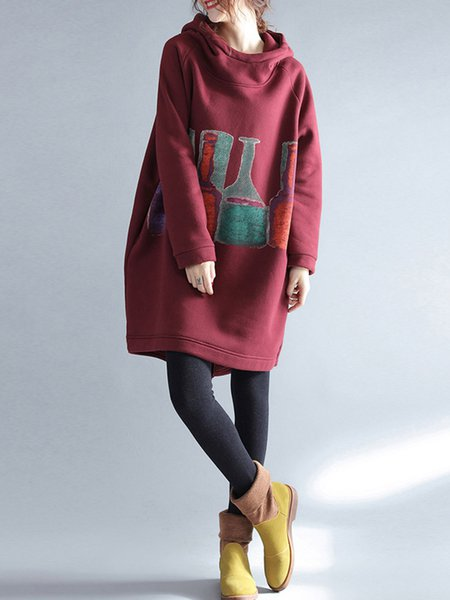 Letter Printed Casual Long Sleeve Cotton Hoodie