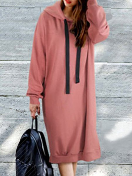 Cotton Slit Long Sleeve Casual Hoddie Dress