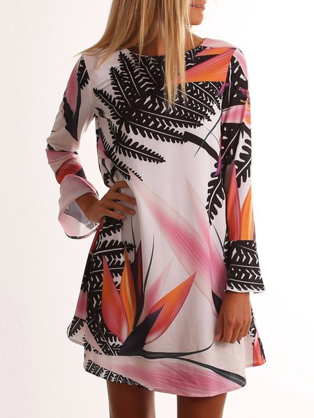 Leaf Printed A-line Casual Long Sleeve Dress