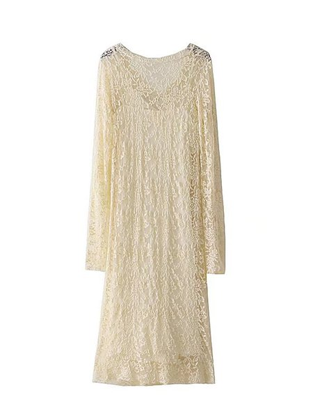 Beige Guipure lace Chic V Neck Long Sleeve Dress