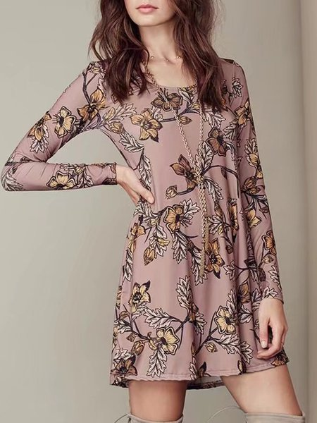 Printed Long Sleeve Casual Comfortable Milk Fiber Dress