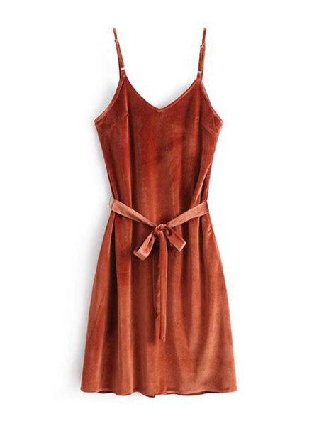Velvet Elegant Plain Braces Skirt with Belt