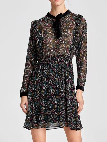 Ruffled Bow Decoration Printed Long Sleeve Dress
