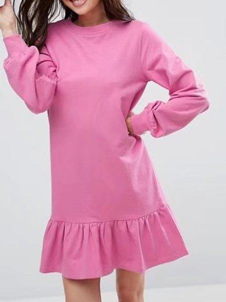 Flounce Hem Long Sleeve Solid Cotton Sweatshirt Dress