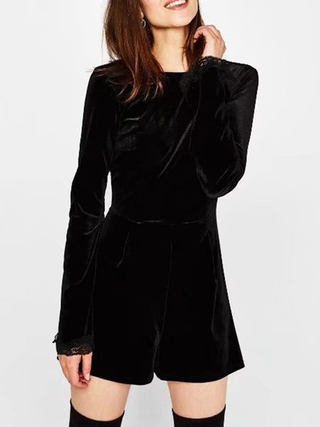 Velvet Sexy Cutout Back Lace Paneled Bell Sleeve Jumpsuit